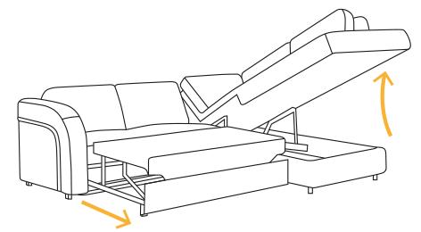 Schemat rozkładania narożnika z funkcją spania